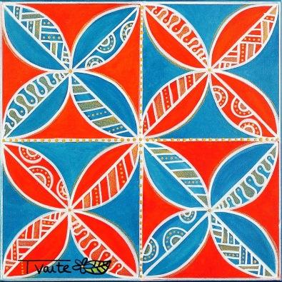 40X40 cm, technique mixte (peinture acrylique et marqueurs sur toile)