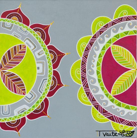 60X60 cm technique mixte (peinture acrylique et marqueurs sur toile)